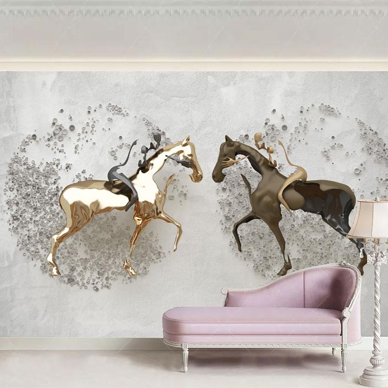 پوستر سه بعدی طرح اسب های جنگجو
