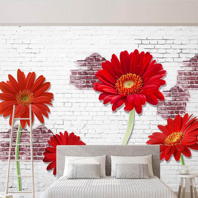 پوستر دیواری سه بعدی گل داوودی سرخ