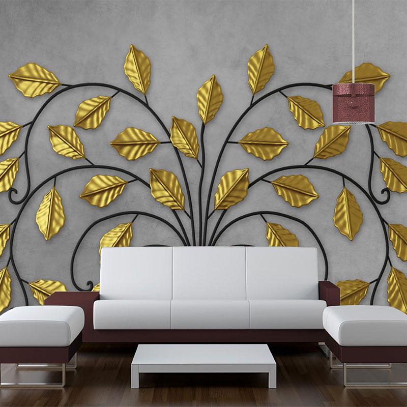 پوستر سه بعدی درختی با برگ طلایی