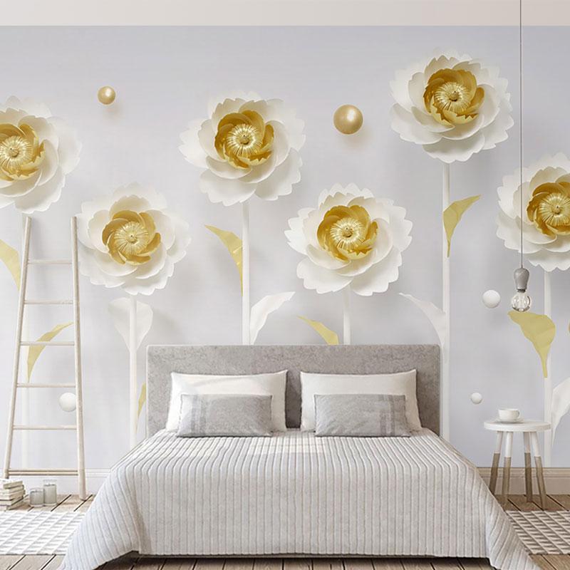 پوستر سه بعدی گل سفید و طلایی