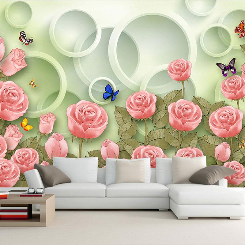 کاغذ دیواری سه بعدی باغ رز