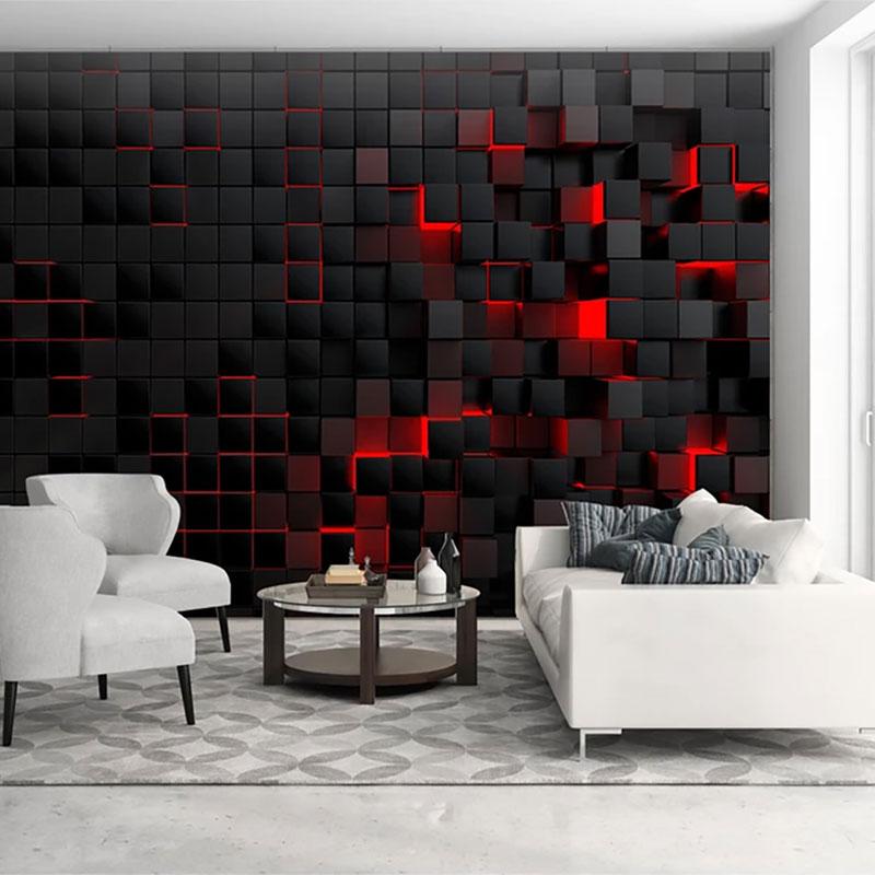 پوستر دیواری سه بعدی مکعب آتشین