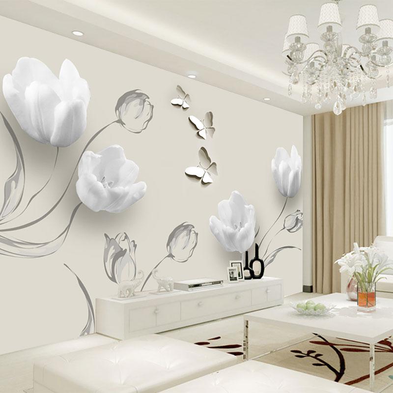 کاغذ دیواری سه بعدی لاله های سفید