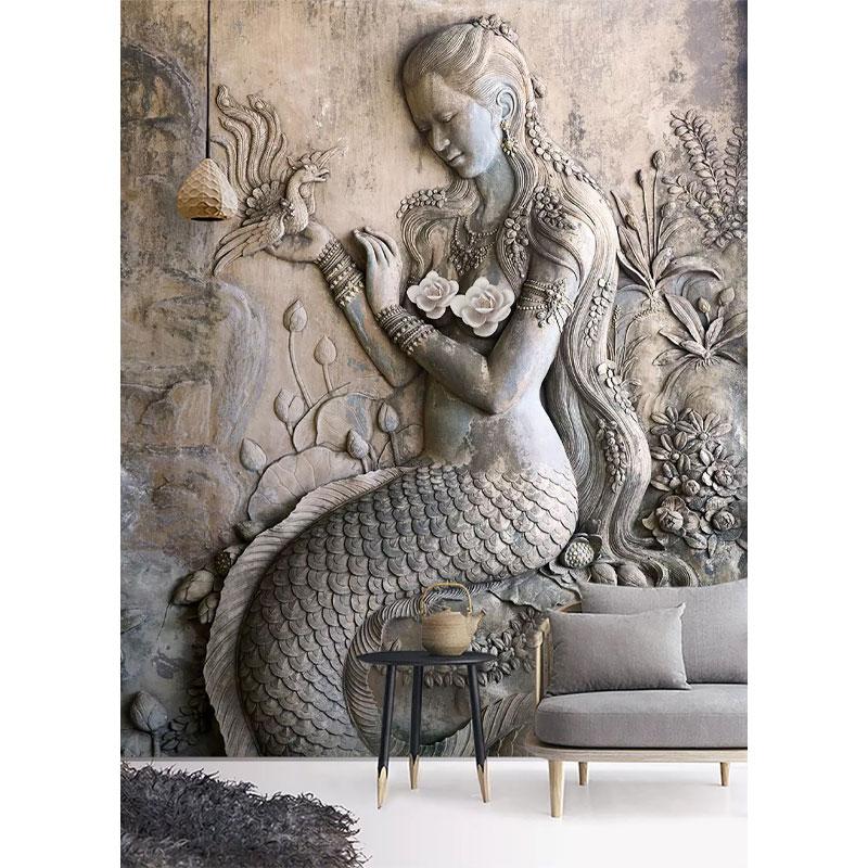 کاغذ دیواری سه بعدی پری دریایی