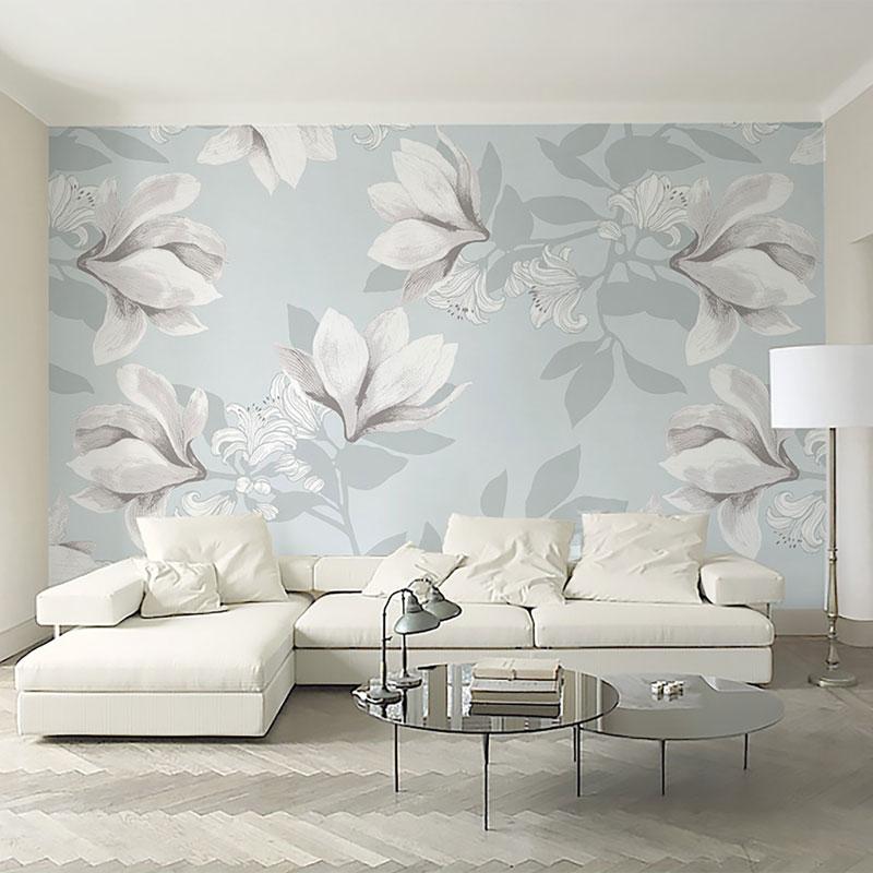 کاغذ دیواری کلاسیک گل های سپید