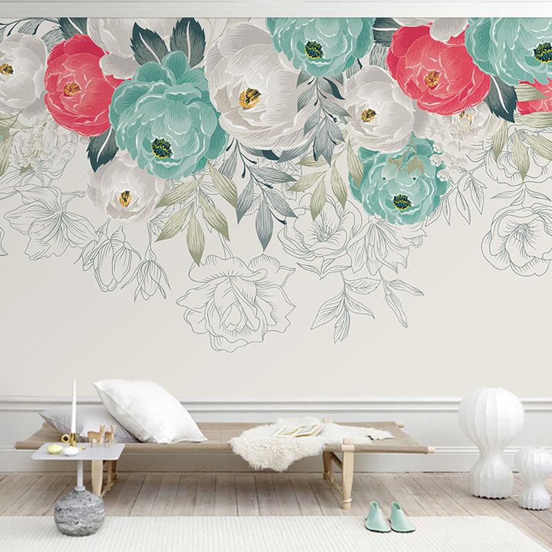 کاغذ دیواری کلاسیک نقاشی گل ها