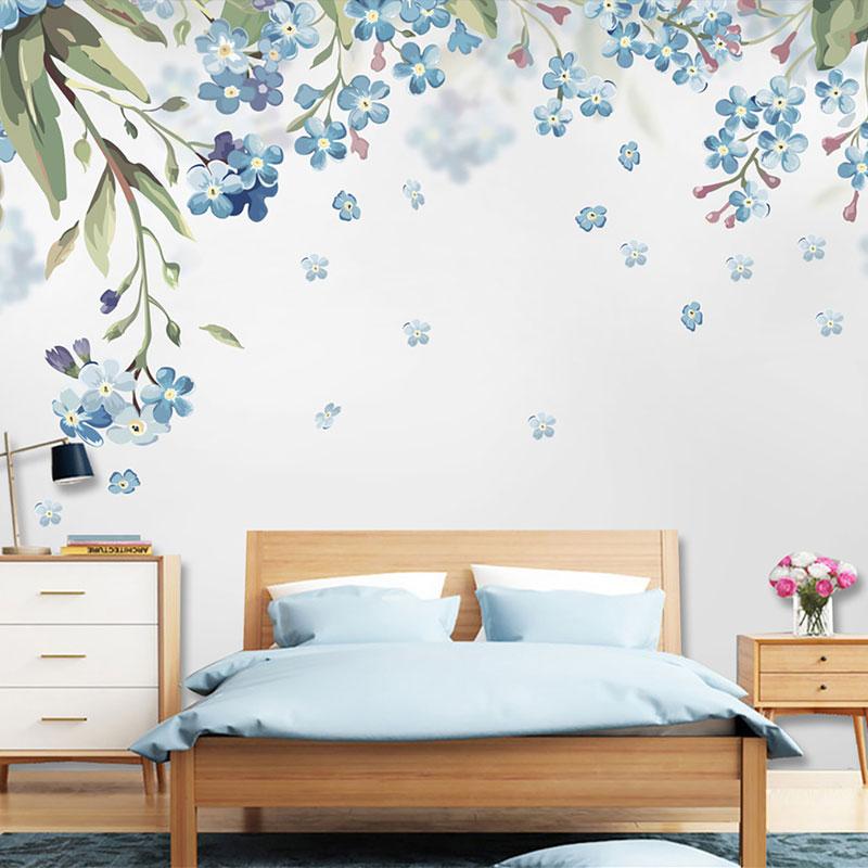 کاغذ دیواری کلاسیک شکوفه های آبی