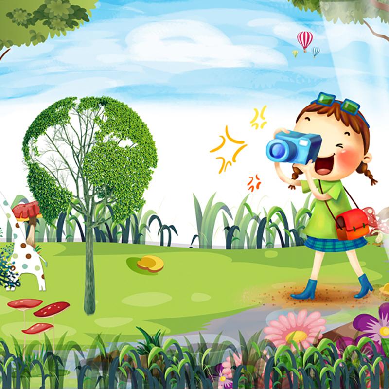 کاغذ دیواری کودک طرح دخترک عکاس