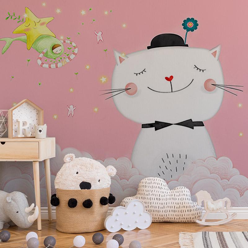 کاغذ دیواری کودک طرح گربه مهربان