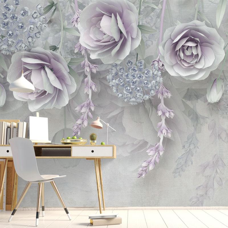 پوستر دیواری سه بعدی گل رز یاسی